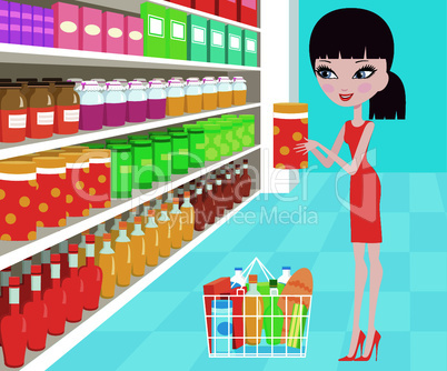 Woman cartoon in a supermarket