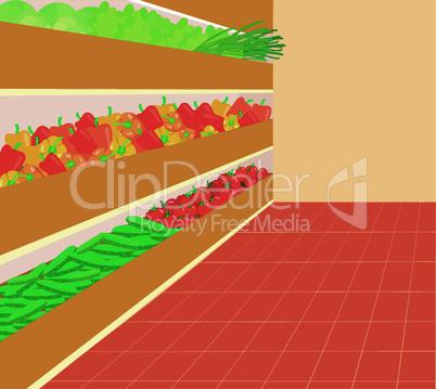 Supermarket. A vegetable number
