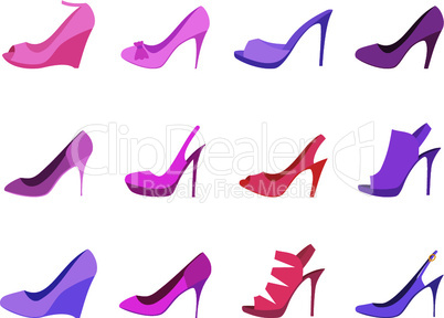 Shoes female on a white background