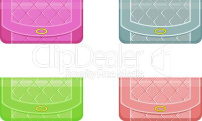Female handbags in pastel tones