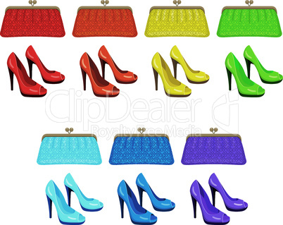 Female bag and shoes. Colors of a rainbow