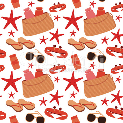 Seamless beach accessories pattern