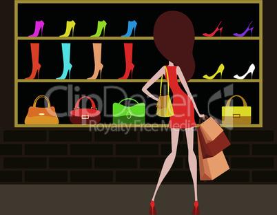 Woman at a shop-front.