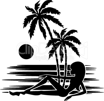 A palm tree and woman silhouette on a white background