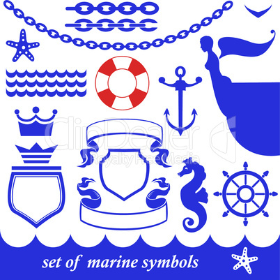 Set of marine elements - chain, anchor, crown, shield, wheel, noun, etc.