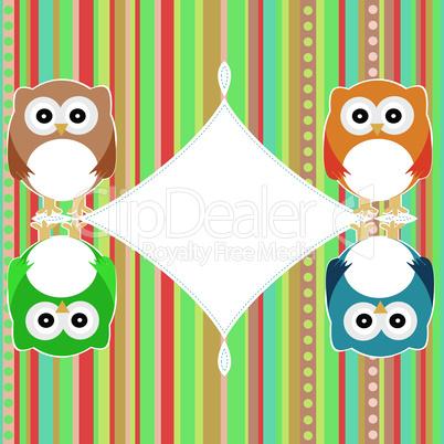 baby owl scrap background. intitation card. vector