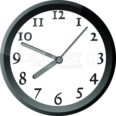 modern wall clock in silver color frame
