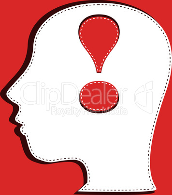 Human head with exclamation mark symbol