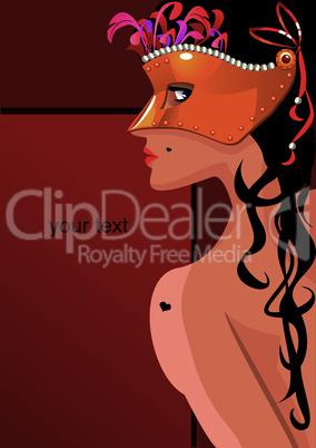 Portrait border with beautiful woman wearing venetian mask