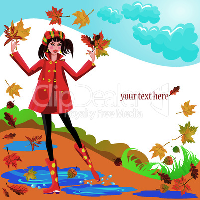Pretty girl dressing coat and rubber boots walks in autumnal park - square frame