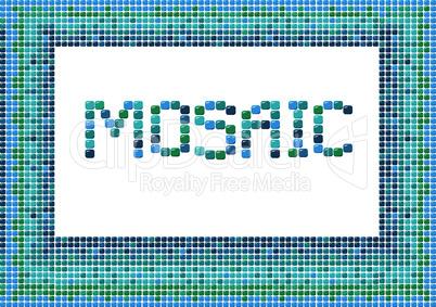 mosaic frame (landscape) on white background