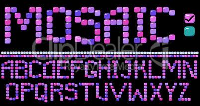 Mosaic alphabet - pink color