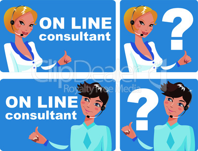 collection of web icons and buttons - on line consultant - man and woman