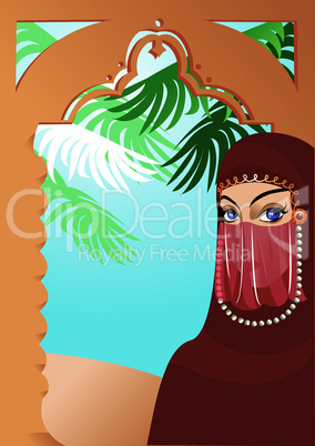 Beautiful arabian woman wearing yashmak. Portrait border.
