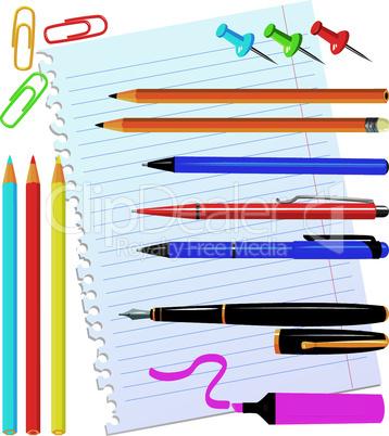 Set of office stationery - pens, color pencils, marker, paper clips, thumbtacks