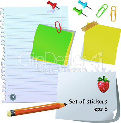 Set of office stationery - pencil, paper clips, thumbtacks, magnet and different paper peaces and stickers