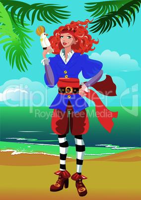 Pirate girl on beautiful tropical beach