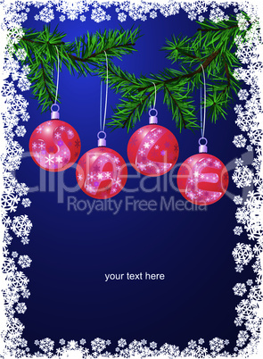 Sale with christmas decoration balls on xmas tree