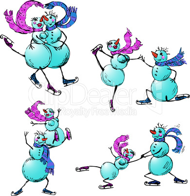 Set of skating happy couple - snowman and snow woman - hand drawn illustration