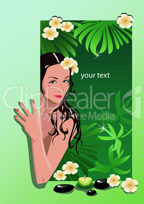 Girl with spa elements (portrait frame)