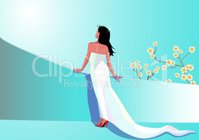 Beautiful woman in white dress (honeymoon illustration)