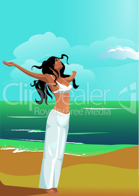 Beautiful, slim and strong woman on beach (health & fit concept)