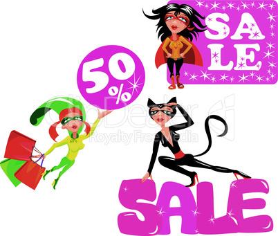 Sale concept - Set of funny cartoons Super hero Girls