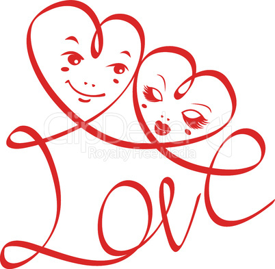 Word LOVE with hearts and funny faces isolated on white background. design for Valentine`s Day or Wedding invitation