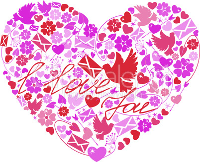 Valentine`s Day postcard - Heart is made of images flowers, doves, letters