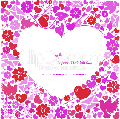 Valentine`s Day postcard - White background heart around the flowers, doves, letters.