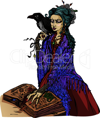 Woman witch with black raven reading ancient magic book