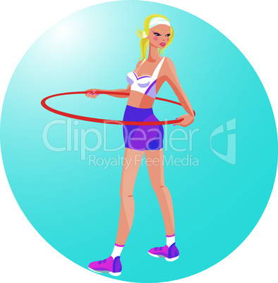 Beautiful blond girl with hoop