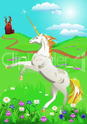 White unicorn rearing up on its hind legs on beautiful meadow with wild flowerss