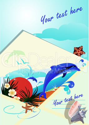 summer holiday envelope with beach, dolphin, sunset, sea, palms and shells