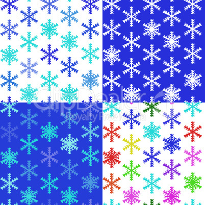set of 4 snow backgrounds, vector illustration seamless pattern with different color snowflakes for winter and christmas theme