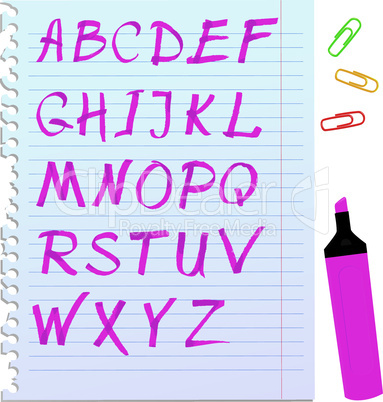 Alphabet set - letters are made by marker.