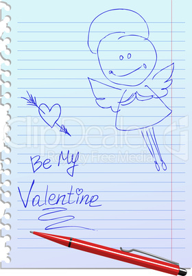 Card with Hand-Drawn Sketchy Angel on Lined Notebook Paper Background