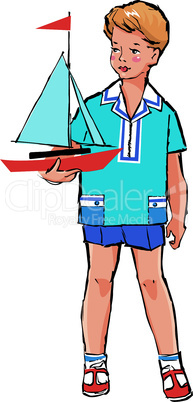 Sketch of Pretty boy with boat model in his hand in retro style