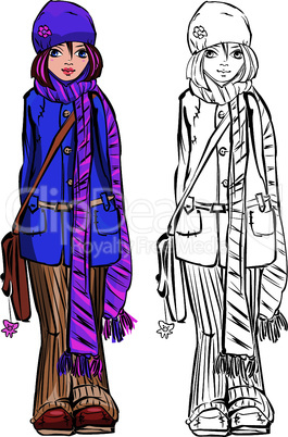 Winter cute girl dressing stripped scarf.