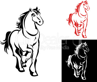 horses on white or black backgrounds