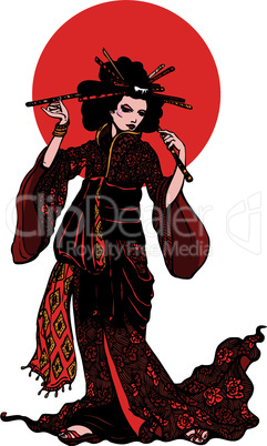Beautiful japanese woman with hairpins on white background with red circle.