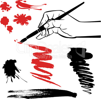 set of black and red blots and hand with brush on the white background