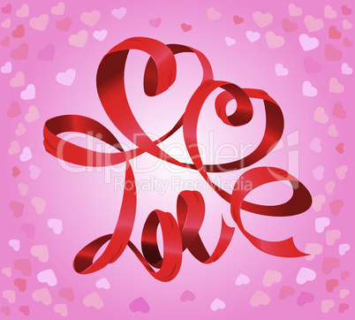 Word LOVE and hearts is made by red ribbon