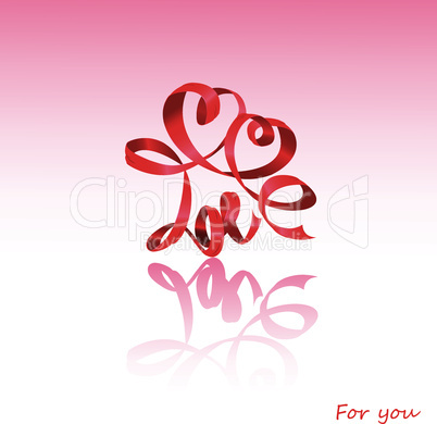 Valentine`s Day card with hearts and word LOVE is made by red ribbon
