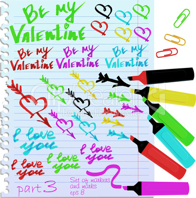 Set of different colors markers and marks for Valentine`s Day design