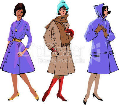 Set of elegant women - retro style fashion models.