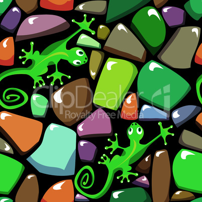 Seamless texture of colorful pebble stonewall with lizards.