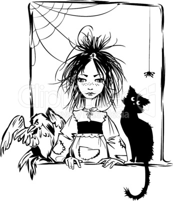 Baby witch with black cat, raven and spider looking out the window - black and white illustration.