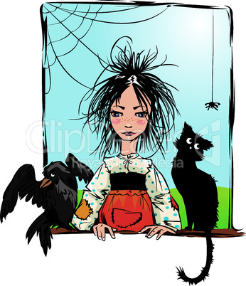 Baby witch with black cat, raven and spider looking out the window -color illustration.
