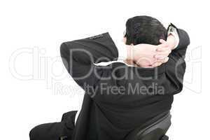 Business relaxation of the businessman. Isolated over white back